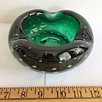 Carl Erickson Green Controlled Bubbles Round Ashtray Fabulous deep emerald green