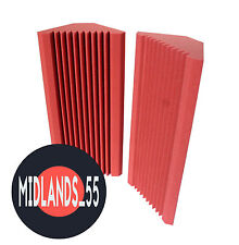 2 Pro LIGHT RED Acoustic Foam 26.6in (600mm) Bass Traps Sound Treatment