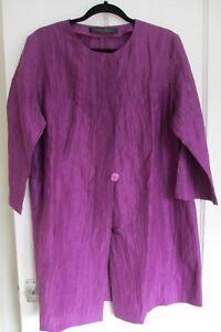 Marina Rinaldi designer linen/silk purple jacket/duster coat XL