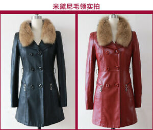 2021 Winter New Women's Leather Coat Fur Collar Long Pu Leather Trench Coat