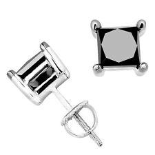 3Ct Princess Black Diamond Square Stud Earrings 18k White Gold Over Prong D/VSS1