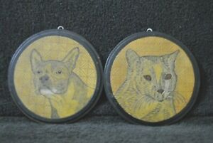 1920's Tondos Incised into Masonite Portrait Cat and the other French Bulldog