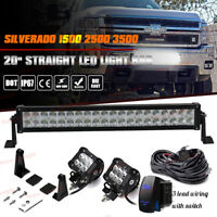 "20/22"" Straight LED Light Bar Chevy Silverado 1500 2500 3500 Lower Grille Bumper"