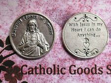 Sacred Heart of Jesus - With Jesus in my Heart - Silver tone  Pocket Coin
