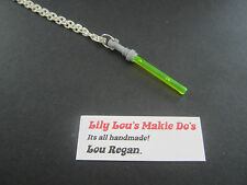 **STAR WARS LEGO JEWELLERY**SILVER NECKLACE WITH YELLOW LEGO LIGHT SABER CHARM**