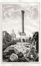 ROMA: Foro Romano: Colonna di Foca.Stato Pontificio. ACCIAIO. Stampa Antica.1838