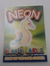Beanie Babies Glow in the Dark Sticker Coloring Card NEON