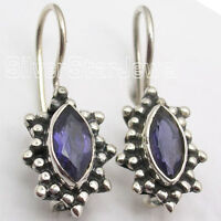 """925 Sterling Silver Fancy IOLITE VINTAGE STYLE Earrings 0.9"""" MADE IN INDIA"""