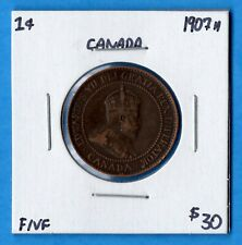 Canada 1907 H 1 Cent One Large Cent Coin - F/VF