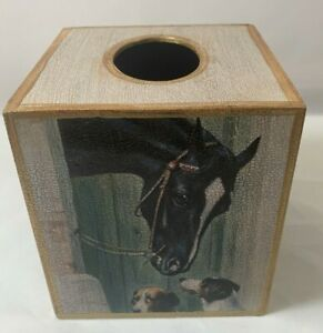 Robin King Designs Decoupage Wood Tissue Box Cover Horse and Dog Home Decor