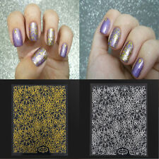 1Sheet 3D Nail Art Stickers Gold Embossed Flower Nail Decals Tips Decoration DIY