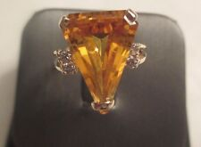 14K Gold Diamond and Citrine Ring Dia=.20 F-SI1  TCW=4.20 18 MM Wide Size 6.5