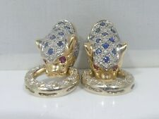 ITALIAN 14K DIAMOND, SAPPHIRE AND RUBY PANTHER EARRINGS 9.3 DWT