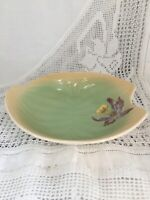 "Vintage Leaf Shaped Dish Green With Orchid By Staffordshire ""Shorter & Sons"""