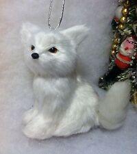 Winter White fox christmas tree ornament Faux Fur