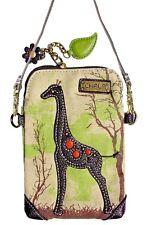 Chala Canvas Cell Phone Wallet Purse Crossbody Wristlet Handbag- Safari Giraffe