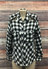 Free People Loose Fit Small Button Down Cotton Plaid Top