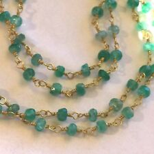 """NE77 Real emerald beaded FINE 35"""" 9k gold on silver necklace IN GIFT BOX Plum UK"""