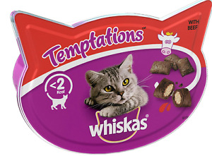 Whiskas Temptations Cat Treats with Beef, 60g (Pack of 8)