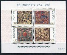 Norvegia/Norway 1993 Bf 20 Giornata del francobollo arte intaglio legno Mnh