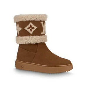 Louis Vuitton Snowdrop Flat Ankle Boot Cognac Suede Leather Size 36.5 6 1/2 NEW