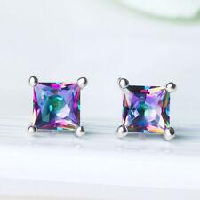1Pair Women Cubic Zirconia Square Glitter Party Charm Ear Stud Earrings Jewelry