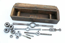 VINTAGE TAP & DIE ANTIQUE SET W/ WOODEN BOX BOTTOM THREADS MACHINIST TOOL OLD