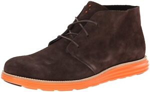 Cole Haan Men's Lunargrand Woodbury Brown Suede Orange Chukka Boot 11 US NIB