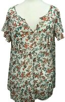 Torrid Cream White Red Blue Floral Top Size 0 Large V Neck Lace Back Pin Tuck