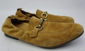 Salvatore Ferragamo Celso Bit Elastic Tan Gancini Slip On Suede Shoe Size 8.5 E