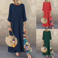 ZANZEA Womens O-Neck Cotton Maxi Dress Summer Beach Casual Floral Long Dresses