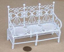 SCALA 1:12 Fili Bianco Sedile Da Giardino Casa delle Bambole Miniatura Accessorio Giardino Veranda