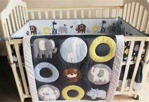 Blue Zoo Baby Crib Cot Bedding Quilt Bumper Sheet Dust Ruffle Set of 4pcs Xmas