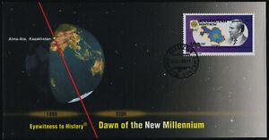 Kazakhstan 40 on Millennium cover - Map, President Nursultan Nazarbnayev