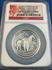 2014P Australia S$1 Year of the Horse High Relief - NGC PF 70 Ultra Cameo