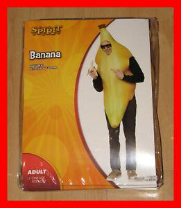 ADULT BANANA COSTUME + SUNGLASSES! SPIRIT HALLOWEEN YELLOW ONE SIZE FITS MOST!