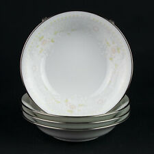 "Noritake Temptation Sauce or Dessert Bowls 4 pc Set, Vintage White Floral 5 3/4"""