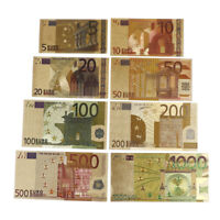 8Pc/Set Euro Banknote Gold Foil Paper Money Craftcollection Bank Note CurreYE ZQ