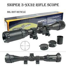 Sniper 3-9X32 Mil Dot Tactical Scope w/ Rings, Caps , Front AO