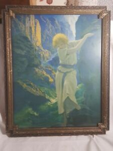 "1920s Maxfield Parrish, ""The Canyon"" Print Vintage, Original Period Deco Frame"