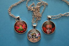 Lot of 4  ALICE THROUGH THE LOOKING GLASS  Cabochon PENDANT NECKLACE New Jewelry