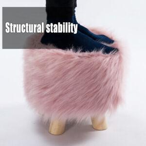 Stool Pouffe Shaggy Faux Fur Foot Bench Ottoman Modern Padded Wooden Round Cute