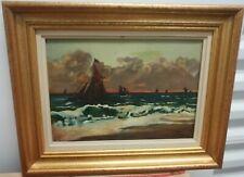 ancien tableau peinture marine hollandaise bateaux huile sur toile signé E.C