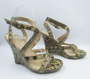 Via Spiga Size 7 Taupe Black Snake-Skin Leather Strappy Sandal Wedges Heels