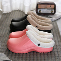 Womens Men Plush Fleece Lined House Shoes Winter Warm Home Clog Indoor Slippers