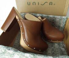 NEW UNISA 'Trele' Walnut Brown Leather Wooden Platform Clog Sandals UK Size 5