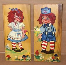 VINTAGE RAGGEDY ANN & ANDY PAINTED WOOD WALL HANGING PLAQUES