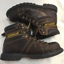 CATERPILLAR CAT STEEL TOE ANKLE BOOTS MEN 8.5 LEATHER BROWN WORK SAFETY GOODYEAR