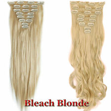 Long New Clip In Long Hair Extensions Real Natural Pony Tail Straight Curly Wavy