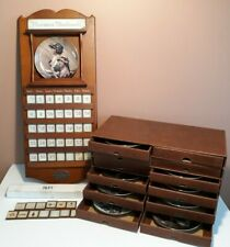 "Norman Rockwell Perpetual Wood Calendar 23"" with 12 Plates and Tiles, Nice! Htf"